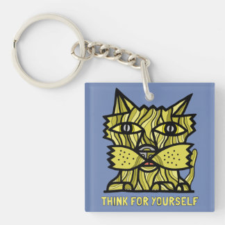 """""""Think For Yourself"""" Square (double-sided) Keychai Double-Sided Square Acrylic Key Ring"""