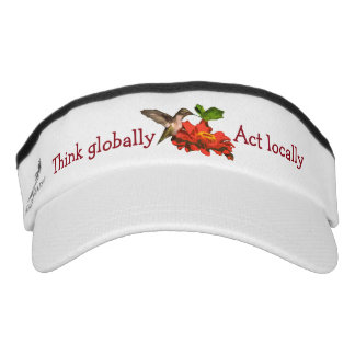 Think Globally Act Locally Hummingbird Red Visor