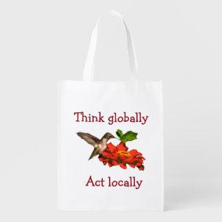 Think Globally Act Locally Hummingbird Reusable Grocery Bag