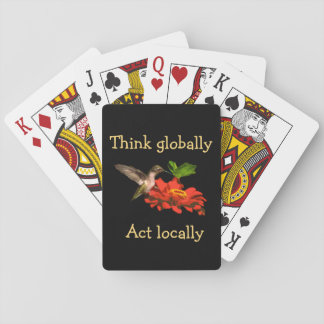 Think Globally Act Locally Red Playing Cards
