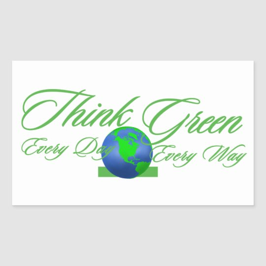 Think Green 3 Rectangle Sticker