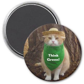 Think Green! 7.5 Cm Round Magnet