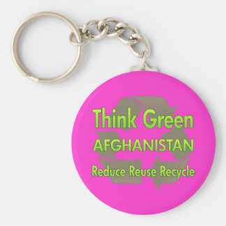 Think Green Afghanistan Basic Round Button Key Ring
