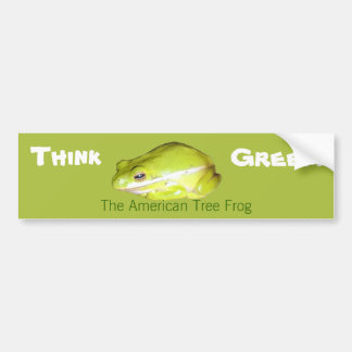 Think Green - American Tree Frog Bumper Sticker