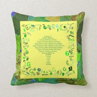 think green art pillow