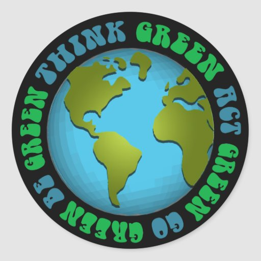 Think Green Be Green Design Stickers