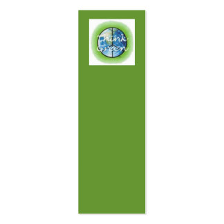 Think Green Bookmark Pack Of Skinny Business Cards