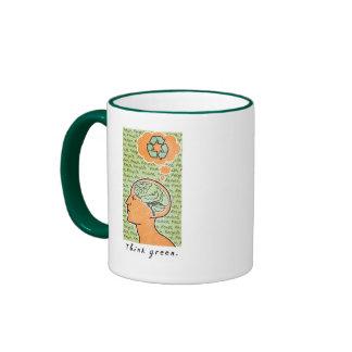 Think Green Brain Power Ringer Coffee Mug