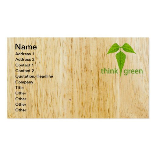 Think green business card templates