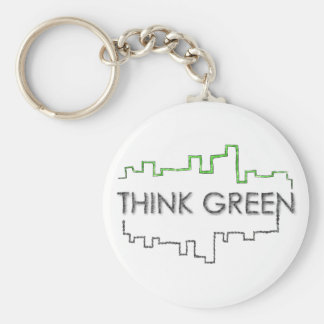 Think Green City Skyline Design | Keychain