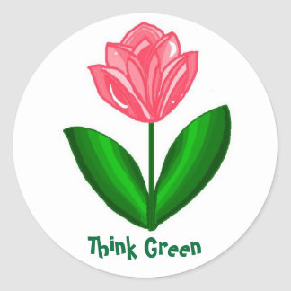 Think Green... Classic Round Sticker