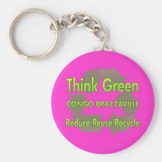 Think Green Congo Brazzaville Basic Round Button Key Ring