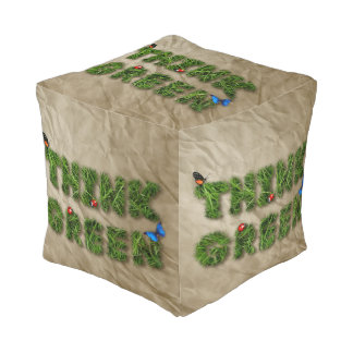 think green cube pouffe