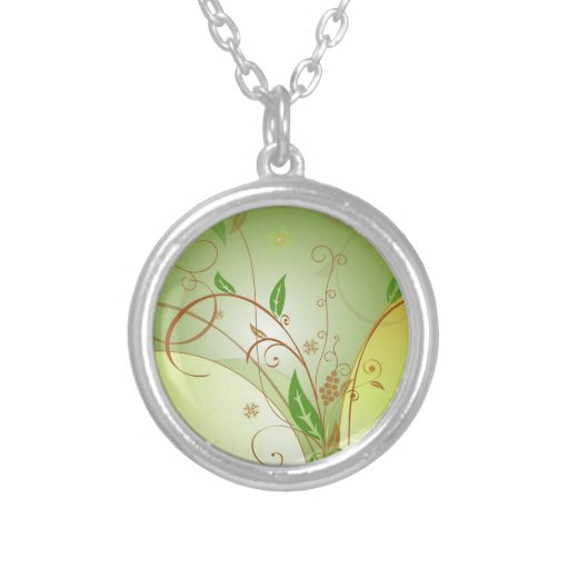 """""""Think Green"""" Custom Small Silver Necklace"""