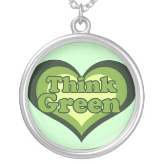 Think Green Earth Day Round Pendant Necklace