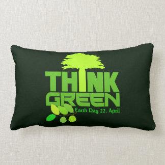 THINK GREEN (Earth Day) throw pillow Throw Cushion