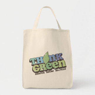 Think Green Earth Day Grocery Tote Bag