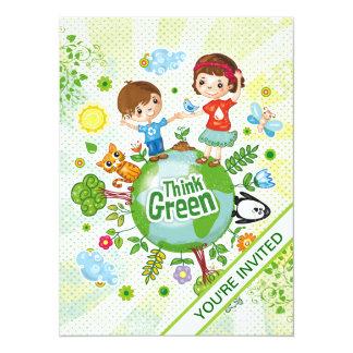Think Green Eco Kids 14 Cm X 19 Cm Invitation Card