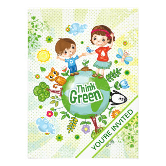 Think Green Eco Kids Custom Invitations