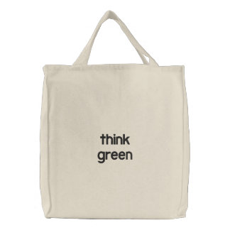 think green embroidered tote bag
