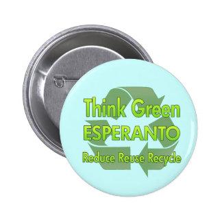 Think Green Esperanto 6 Cm Round Badge