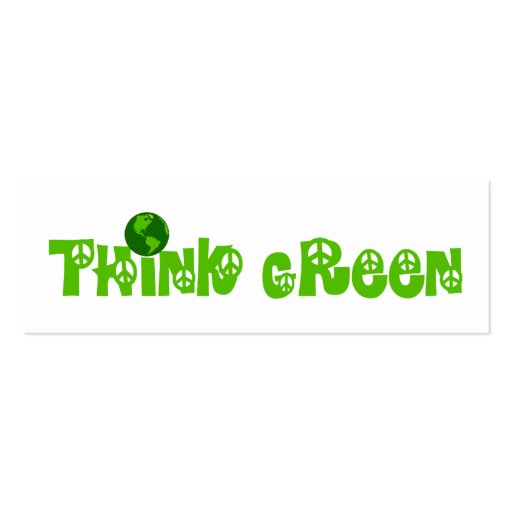 Think Green Globe Bookmark Business Cards