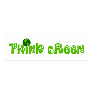 Think Green Globe Bookmark Pack Of Skinny Business Cards