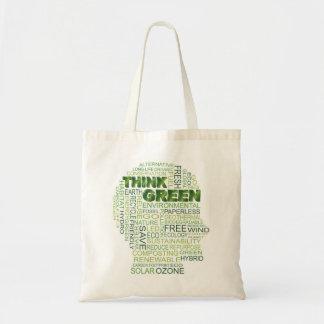 Think Green Human Head Word Cloud Bag
