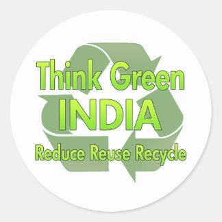 Think Green India Classic Round Sticker
