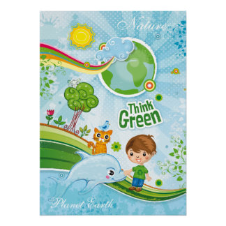 Think Green - Kids poster