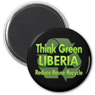 Think Green Liberia 6 Cm Round Magnet