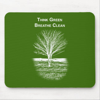 Think Green Mouse Pad (white text)