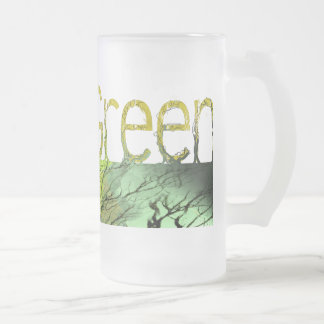 Think Green 16 Oz Frosted Glass Beer Mug