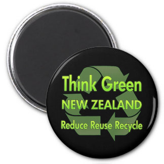 Think Green New Zealand 6 Cm Round Magnet