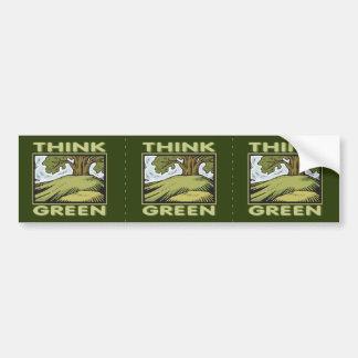 Think Green Oak Tree Bumper Sticker