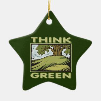 Think Green Oak Tree Ceramic Star Decoration