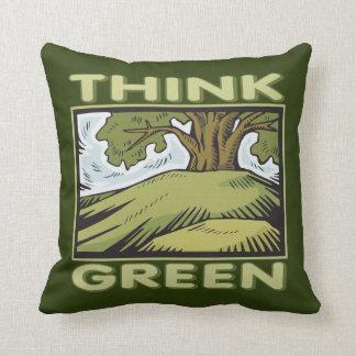 Think Green Oak Tree Throw Pillow