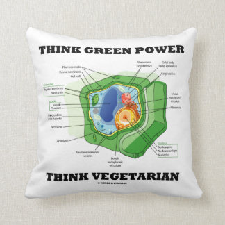 Think Green Power Think Vegetarian Plant Cell Cushion
