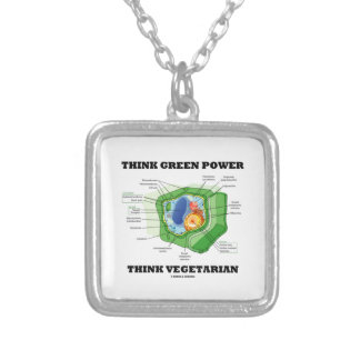 Think Green Power Think Vegetarian (Plant Cell) Square Pendant Necklace