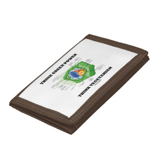 Think Green Power Think Vegetarian Plant Cell Tri-fold Wallet