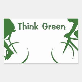 Think Green Rectangular Sticker