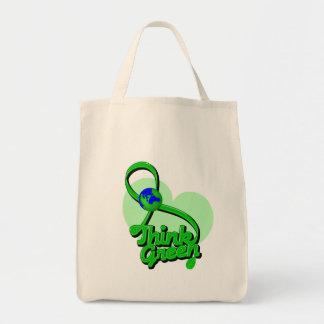 Think Green Ribbon Environment Canvas Bags