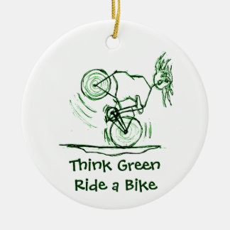 Think Green Ride a Bike Round Ceramic Decoration