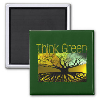 Think Green Roots Tree Hugger Magnet