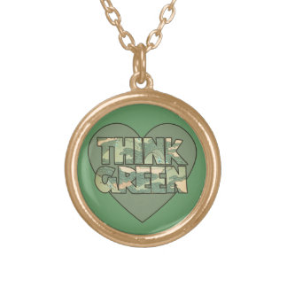Think Green Round Pendant Necklace
