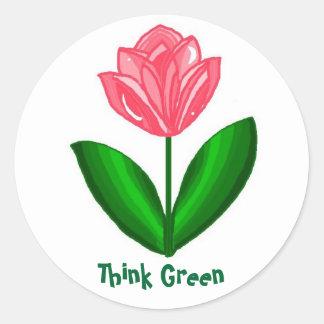 Think Green... Round Sticker
