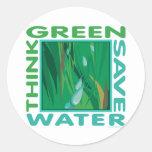 Think Green, Save Water Round Sticker