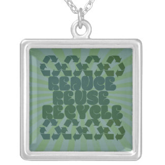 Think Green Square Pendant Necklace