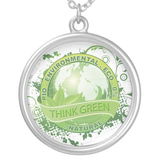 Think Green Sterling Silver Pendant Necklace