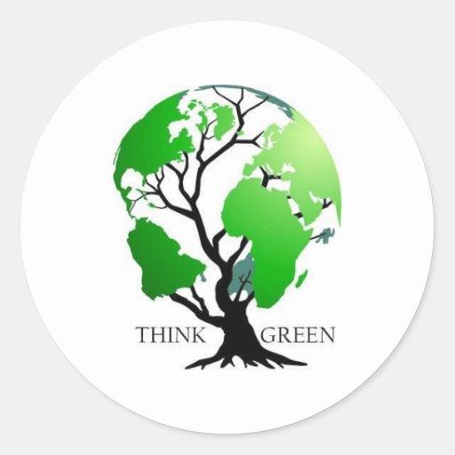 Think Green Round Stickers